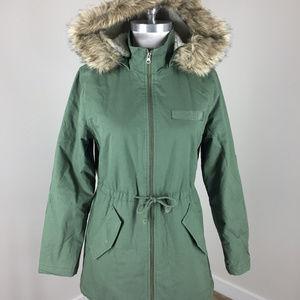 new Gap Faux-Fur hood Sherpa lined Parka Coat S